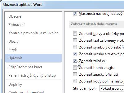 Možnosti aplikace Word