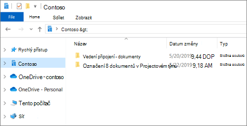 Snímek obrazovky zobrazující synchronizační složky pro OneDrive a weby.