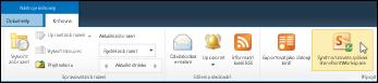 Možnost Synchronizovat s aplikací SharePoint Workspace na kartě Knihovna na pásu karet