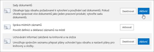 Příklady theSite kolekce funkce, které můžete jej můžete aktivovat pro službu SharePoint