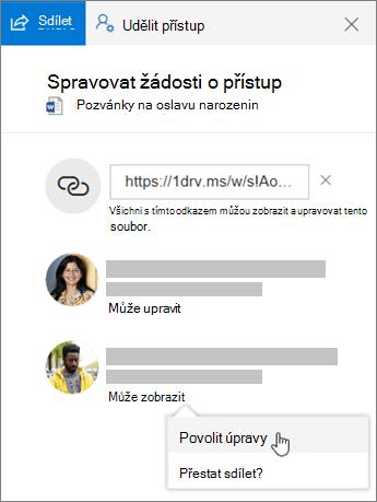 Snímek obrazovky s oddílem Sdílení v podokně podrobností o sdíleném souboru