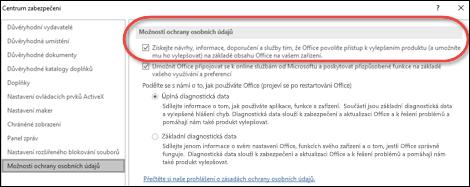 Možnosti ochrany osobních údajů dialogovým oknem zobrazující místo pro povolení nebo zakázání cloud services pro Office.