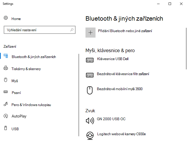 Bluetooth a další nastavení zařízení