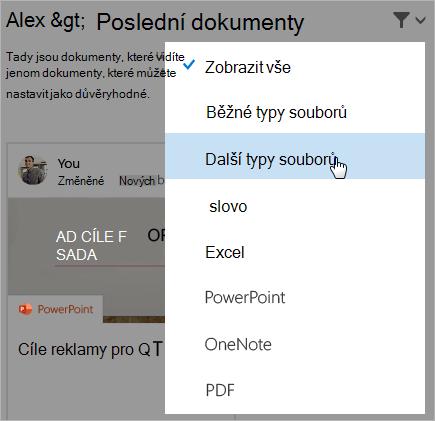 Snímek obrazovky, na kterém je stránka posledních dokumentů s otevřeným seznamem filtrů