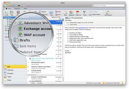 Outlook s několika účty v jedné doručené poště