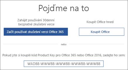 """Obrazovka """"Pojďme na to"""" znamená, že na zařízení je zkušební verze Office 365"""