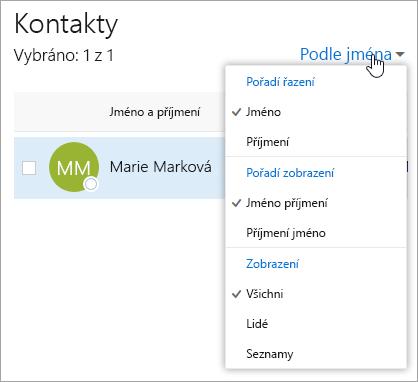 Snímek obrazovky s rozevírací nabídkou filtru na stránce Lidé