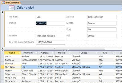 Rozdělený formulář v accessové desktopové databázi