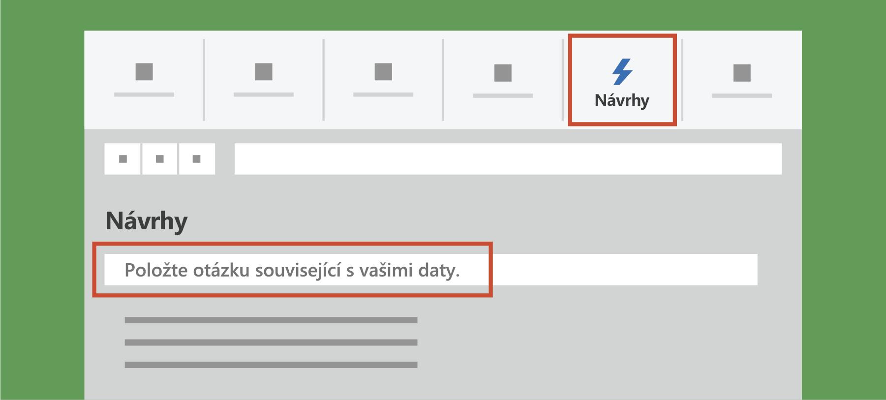 Zobrazuje nápady v Excelu.