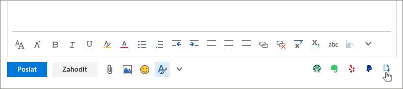 Snímek obrazovky s spodní části e-mailové zprávy, pod oblastí textu s kurzorem ukazujícím na ikonu šablony úplně vpravo.