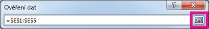 Tlačítko Rozbalit dialogové okno v dialogovém okně Ověření dat