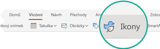 Tlačítko Ikony na kartě Vložení v PowerPointu pro web.