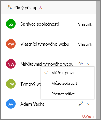 Snímek obrazovky s odkazy na přímý přístup