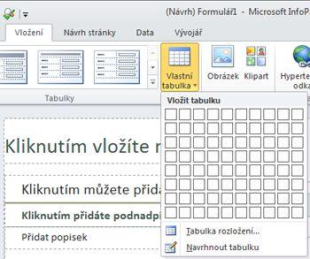Rozložení formuláře aplikace InfoPath 2010