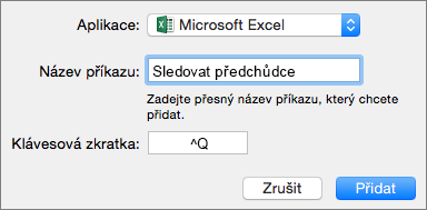 Office 2016 for Mac custom keyboard shortcut example