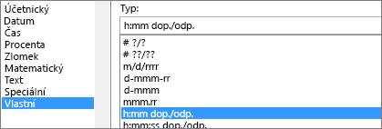 Dialogové okno Formát buněk, vlastní příkaz, typ h:mm, dop./odp.