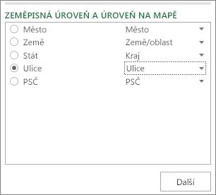 Zeměpisná oblast a Úroveň mapy v podokně úloh