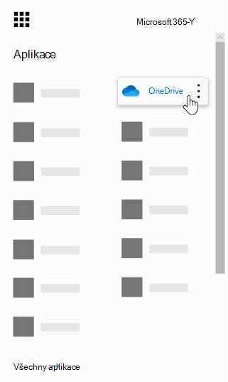 Spouštěč aplikací Office 365 se zvýrazněnou aplikací OneDrive