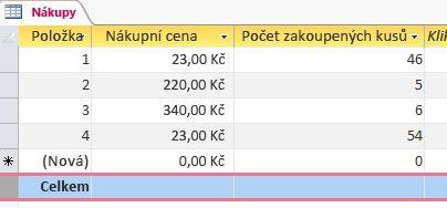 řádek souhrnů v datovém listu