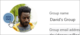 Snímek obrazovky s tlačítkem změnit fotku skupiny