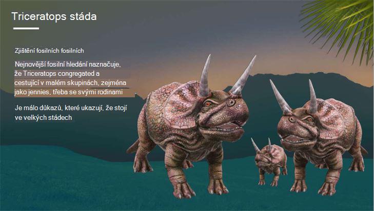 Snímek obrazovky se stránkou o Triceratops