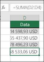 Místo abyste hodnoty ve vzorcích zadávali ručně, použijte funkci SUMA.  Vzorec v buňce D5 je =SUMA(D2:D4).