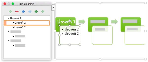 Použití podokna Text obrázků SmartArt