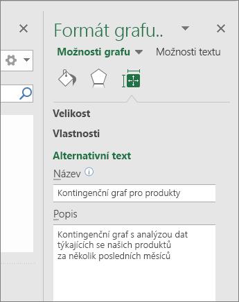 Snímek obrazovky oblasti alternativního textu v podokně Formát oblasti grafu s popisem vybraného kontingenčního grafu