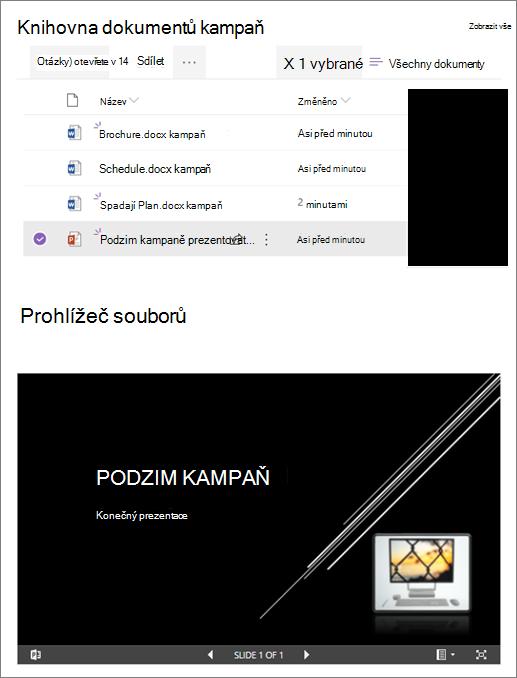 Příklad webové části Prohlížeč souborů připojené k knihovně dokumentů