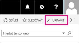 Snímek obrazovky s ikonou úprav na domovské stránce týmového webu