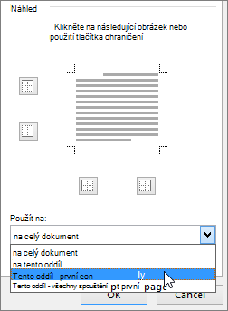 Zobrazení možností Použít na v dialogovém okně Ohraničení a stínování