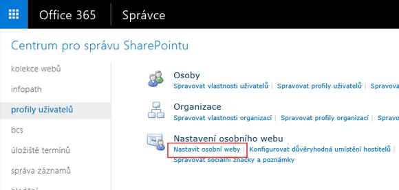 Ukázka obrazovky nabídky nastavení služby SharePoint a zvýrazněným profilů uživatelů