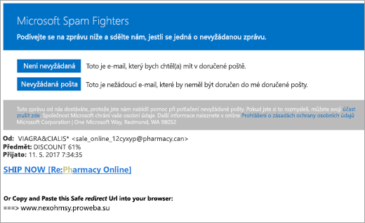 Snímek obrazovky s e-mailu Fighters nevyžádané pošty