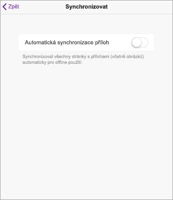 Vypnutí automatické synchronizace v nastaveních OneNotu na iPadu
