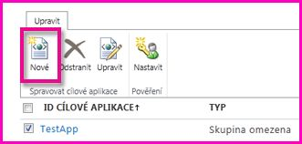 Snímek stránky Centrum pro správu SharePointu Online pro konfiguraci cílové aplikace zabezpečeného úložiště přihlašovacích údajů.
