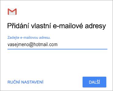 Přidání vlastní e-mailové adresy