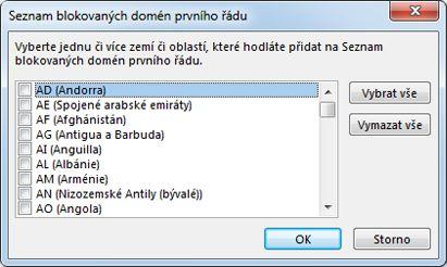 Dialogové okno Seznam blokovaných domén prvního řádu
