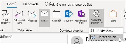 Snímek obrazovky s tlačítkem Nastavení skupiny na navigačním panelu