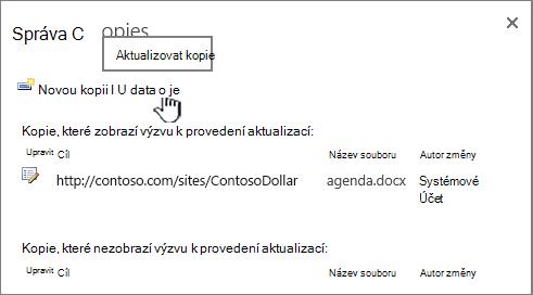 Aktualizovat všechny kopie souboru