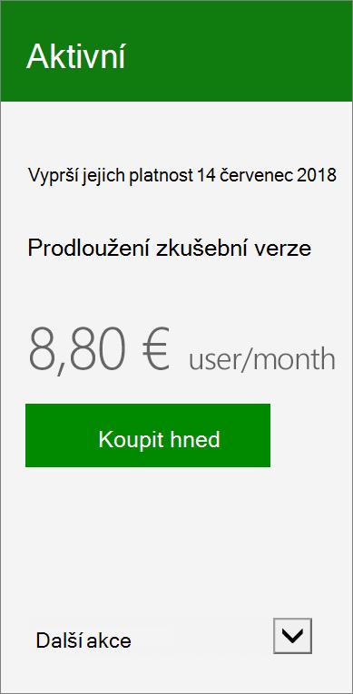 Detailní karty předplatného zobrazující datum zkušební verze vyprší jejich platnost, odkaz prodloužit zkušební verzi a tlačítko Koupit nyní.