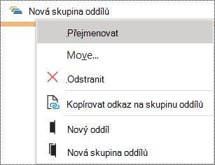 Dialogové okno přejmenování skupiny oddílů ve OneNotu pro Windows