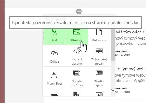 Výběr moderní webové aplikace s obrázkem po posunutí zvýrazněnými