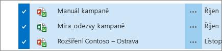 Tři vybrané rezervované soubory
