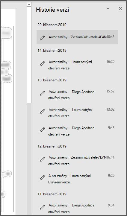 Podokno Historie verzí v Office s několika staršími verzemi souboru