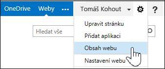 Výběr příkazu Obsah webu z nabídky ozubeného kola na stránce O mně