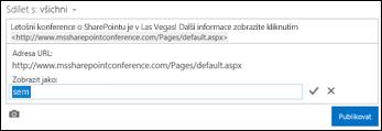 Odkaz na webovou stránku naformátovaný tak, aby zobrazoval text