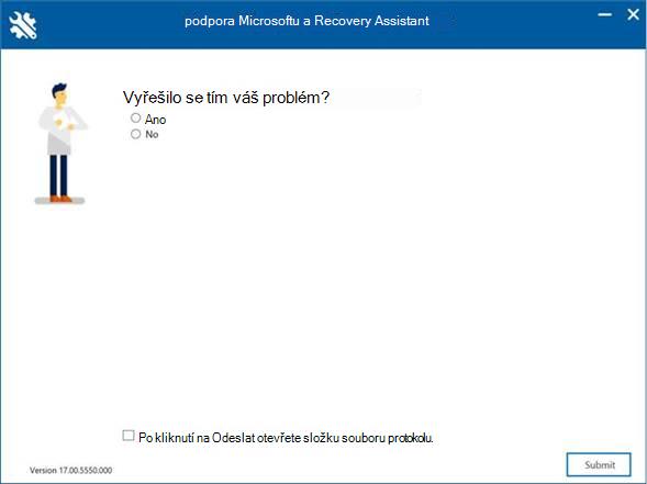 Okno nástroje Microsoft Support and Recovery Assistant dotazující se: <Uživatel>, byl váš problém vyřešen?