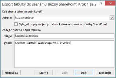 Dialog průvodce exportem do SharePointu