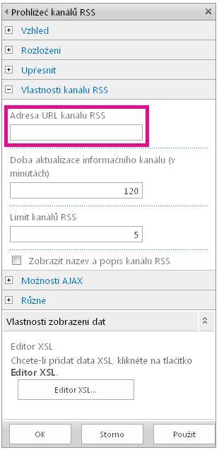 Vlastnosti webové části Prohlížeč kanálů RSS