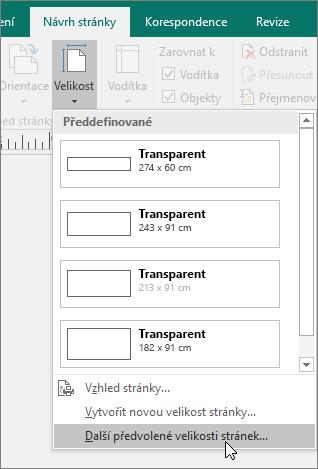 Snímek obrazovky s možností Další předvolené velikosti stránek na kartě Návrh stránky v Publisheru
